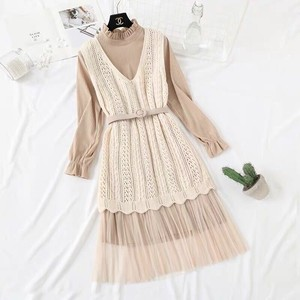 Knitted One-piece Dress Set Belt Flare One-piece Dress Long Beige