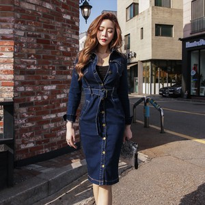 Denim One-piece Dress One-piece Dress Long Long Sleeve Sexy