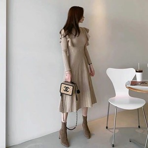 One-piece Dress Dress Knitted One-piece Dress Flare One-piece Dress Long Long Sleeve