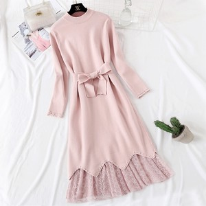 One-piece Dress Dress Knitted One-piece Dress Set Long Line Long Sleeve Pink