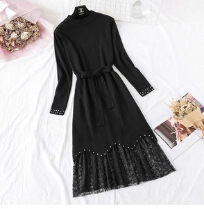 One-piece Dress Dress Knitted One-piece Dress Set Long Line Long Sleeve Black