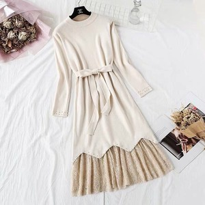 One-piece Dress Dress Knitted One-piece Dress Set Long Line Long Sleeve Beige