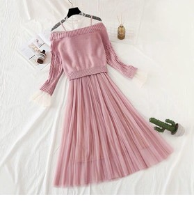 One-piece Dress Dress Knitted One-piece Dress Flare One Piece Set Long Pink