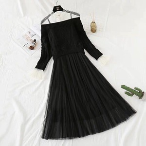 One-piece Dress Dress Knitted One-piece Dress Flare One Piece Set Long Black