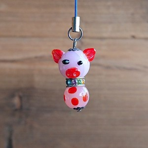 Glass Dragonfly Ball Animal Cell Phone Charm pig