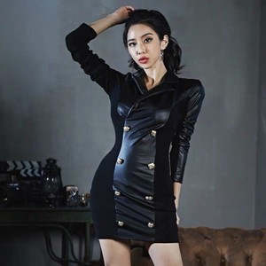 One-piece Dress Short One-piece Dress Semi-formal Leather Sexy Long Sleeve