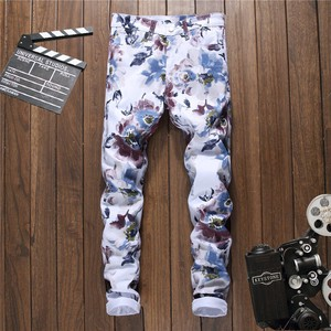 Men's Denim Pants Long Pants Print White