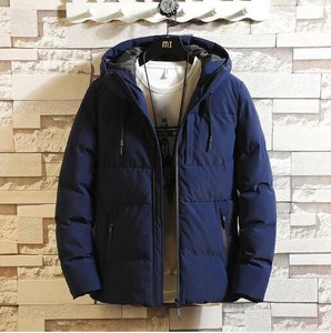 Blue Insulated Jacket Jacket Men's Outerwear Zip‐up Jacket Thick Warm With Hood
