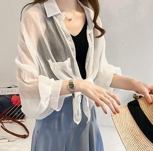 Soft Puff Funwari Blouse Shirt Top Tunic White