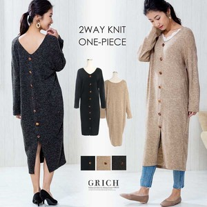 A/W One-piece Dress Reversible Knitted One-piece Dress Long Shin Below-The-Knee Shin