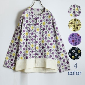 Long Flower Repeating Pattern Print Switching Cardigan