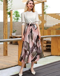 Ribbon Belt Funwari Chiffon Floral Pattern Line Flare Long Skirt Pink