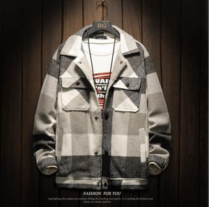 Insulated Jacket Men's Checkered Blouson Zip‐up Jacket Color Jacket