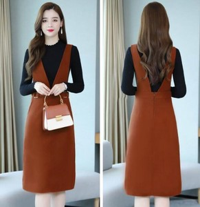 Knitted Top One-piece Dress 2 Pcs Set Event Outing One-piece Dress Brown