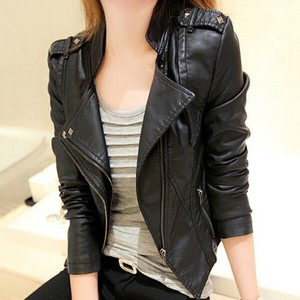 Ladies Leather Jacket Motorcycle Leather Jacket Blouson Jacket Lean
