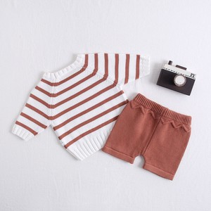 Kids Border 2 Pcs Set Knitted Top Pants Suit Set Baby Children's Clothing