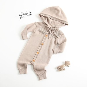 Kids With Hood Cover All Knitted Baby Rompers All-in-one Kids