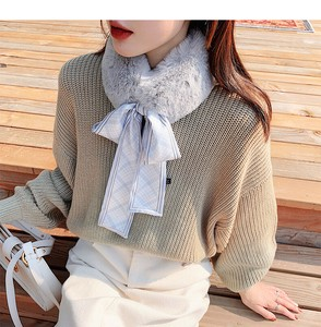 Fake Fur Attached Checkered Long Scarf Scarf