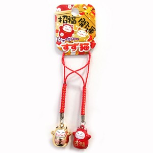 Good Luck Japanese Craft Strap Better Fortune Cat Strap Red Gold