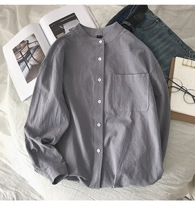 Men's Fashion Plain Long Sleeve Shirt Natural Outerwear