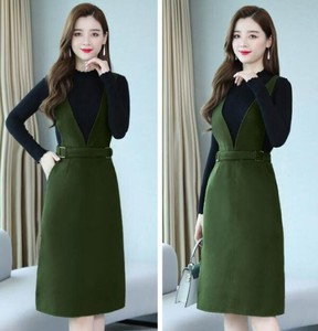 A/W Knitted Top One-piece Dress 2 Pcs Set Event Outing One-piece Dress