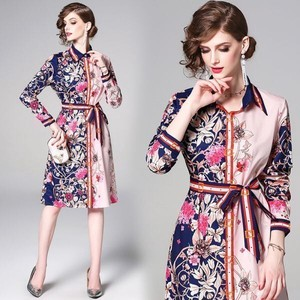 Ladies Floral Pattern Spring Color Wedding Long Sleeve Shirt One-piece Dress Dress