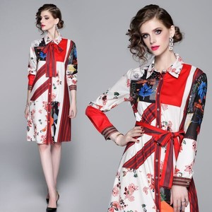 Print Long Sleeve Wedding Concert Dress Shirt One-piece Dress