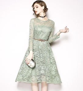 Wedding Concert Party Long Sleeve Long Flare Band Dress