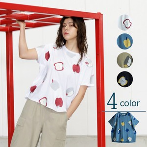 S/S Apple Embroidery Fruit Embroidery Dolman T-shirt