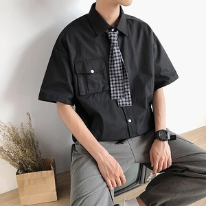 Men's Fashion Plain Short Sleeve Shirt Casual Top
