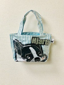Embroidery French Bulldog Blue Stripe Vinyl