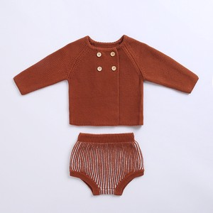 Kids 2 Pcs Set Knitted Jacket Shor Pants Suit Set Baby Children's Clothing