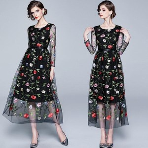 Flower Embroidery Lace Long Sleeve Wedding Concert Dress Long One-piece Dress