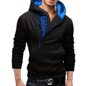 Men's Long Sleeve Hoody Plain Men's Hoody Black Blue