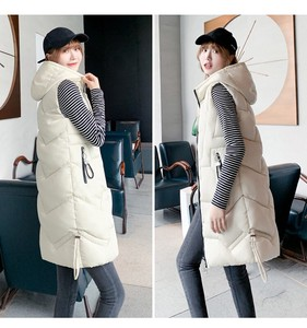 Long Coat Vest Down Coat Plain A/W Ladies Line