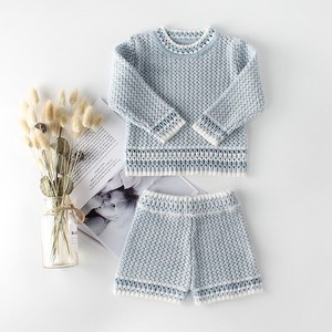 Girl Boys Knitted 2 Pcs Set Top Pants Long Sleeve Sweater Bottom Kids