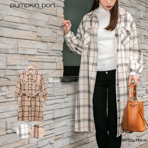 Cotton Checkered Fabric Belt Ribbon Attached Big Shirt One-piece Dress