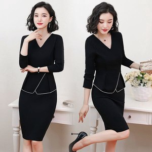 V-neck Office Commuting Event Long Sleeve One-piece Dress Dress