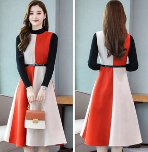 Knitted Top Flare One-piece Dress 2 Pcs Set Event Outing One-piece Dress Orange