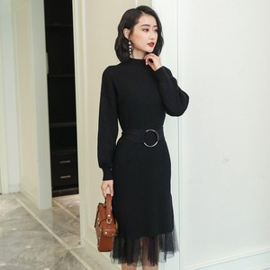 One-piece Dress Ladies Semi-formal Knitted One Piece