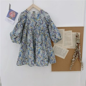 Girl Floral Pattern One-piece Dress Long Sleeve Dress Cotton Kids Children's Clothing