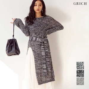A/W One-piece Dress Marble Knitted One-piece Dress Layard Belt Gigging Mono Tone
