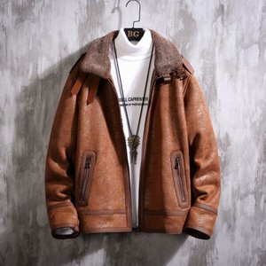 Raised Back Men's Mouton Jacket Rider Blouson Thick Outerwear Coat Brown Brown