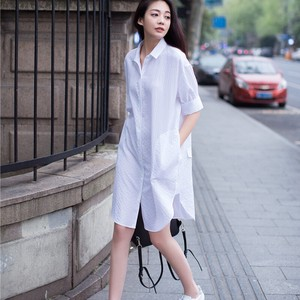Ladies Long Shirt Plain Shirt Tunic Casual Outerwear