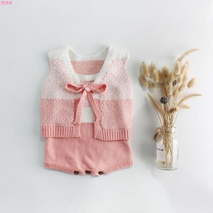 Kids 2 Pcs Set Knitted Rompers Knitted Vest Cotton Wool Kids Baby
