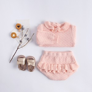 Girl 2 Pcs Set Frill Knitted Top Shor Pants Suit Set Baby Children's Clothing