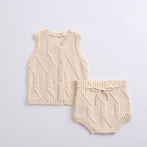 Kids 2 Pcs Set Knitted Vest Knitted Pants Suit Set Children's Clothing Baby