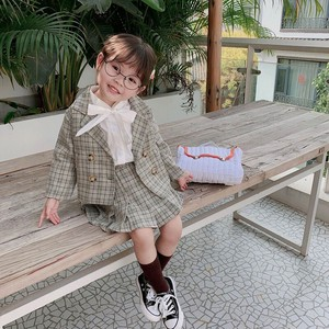 Girl Checkered 2 Pcs Set Jacket Skirt Kids Children's Clothing Admission Admission