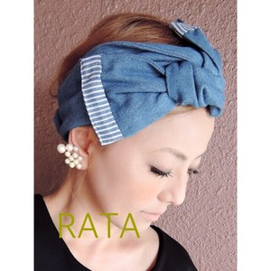 Ribbon Turban Light Denim Easy