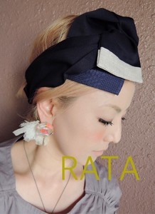 Ribbon Turban Navy Beige Easy